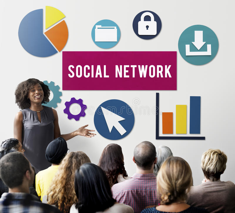 Concetto sociale del collegamento a Internet della rete di media fotografia stock