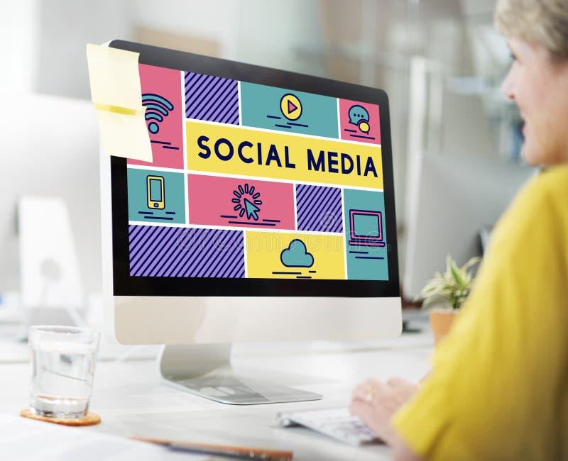 Concetto sociale del grafico della gente di tecnologia di mezzi d'informazione immagine stock libera da diritti