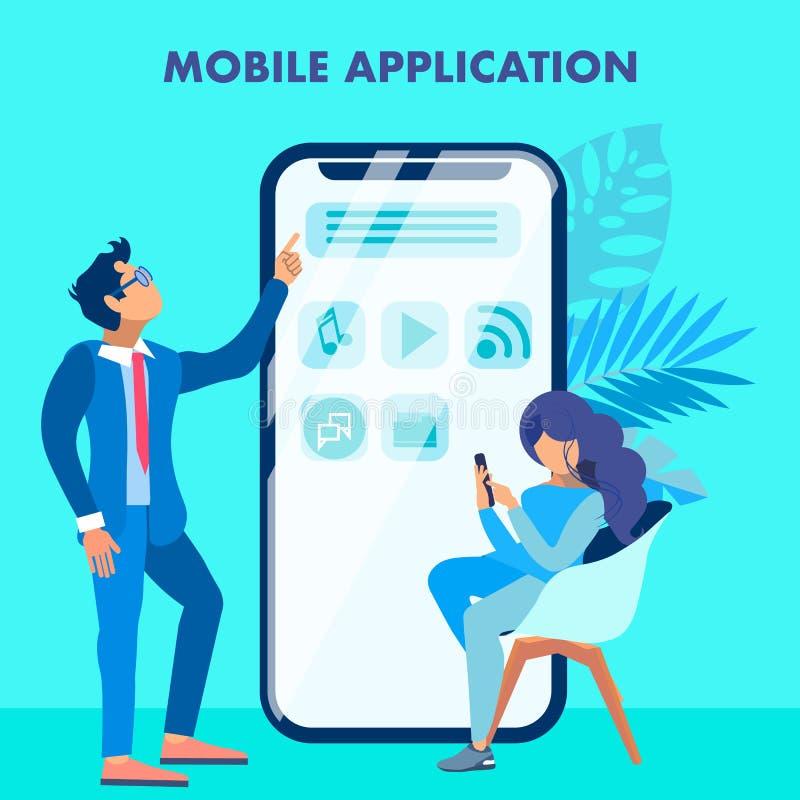 Concetto sociale dell'insegna di media di applicazione mobile illustrazione di stock