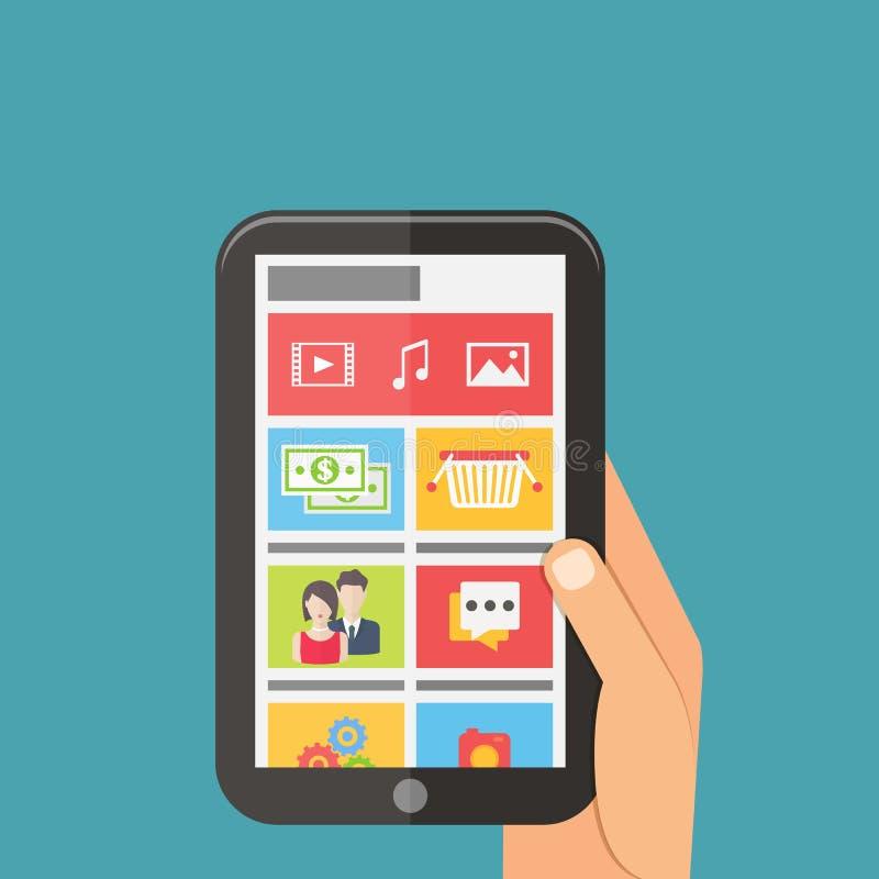 Concetto sociale della connessione di rete di media, cellulare royalty illustrazione gratis