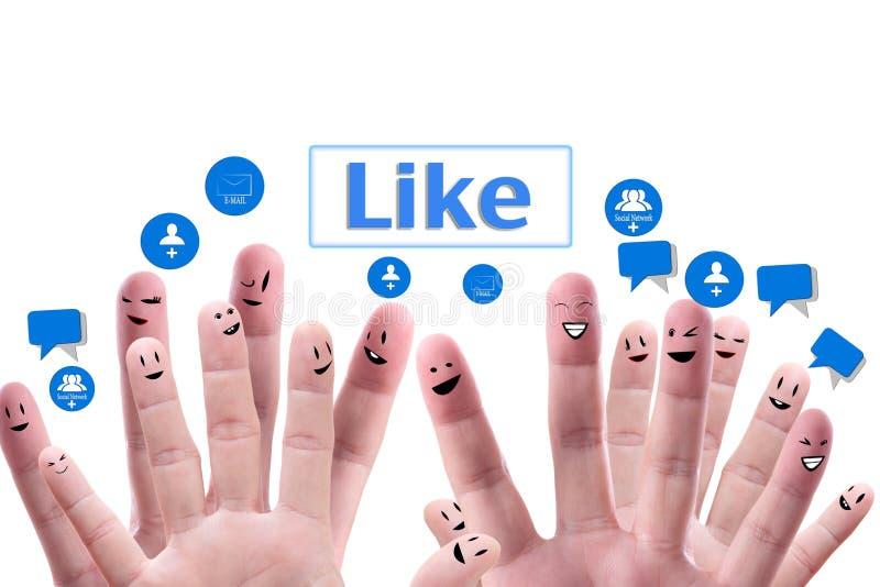 Concetto sociale della rete del gruppo felice di fingerf fotografia stock libera da diritti
