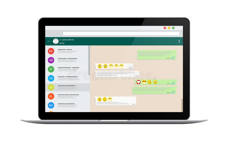 Concetto sociale della rete Modello in bianco Chiacchierata e messaggio Invio dei messaggi SMS illustrazione di stock