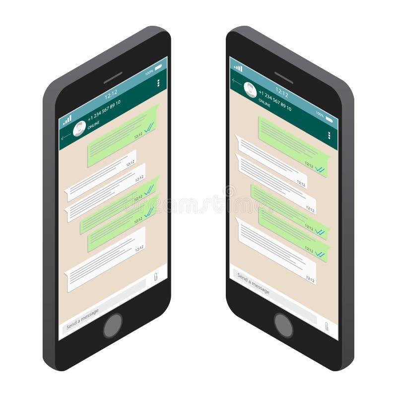Concetto sociale della rete Modello in bianco Chiacchierata e messaggio Invio dei messaggi SMS Finestra di chiacchierata moderna illustrazione di stock