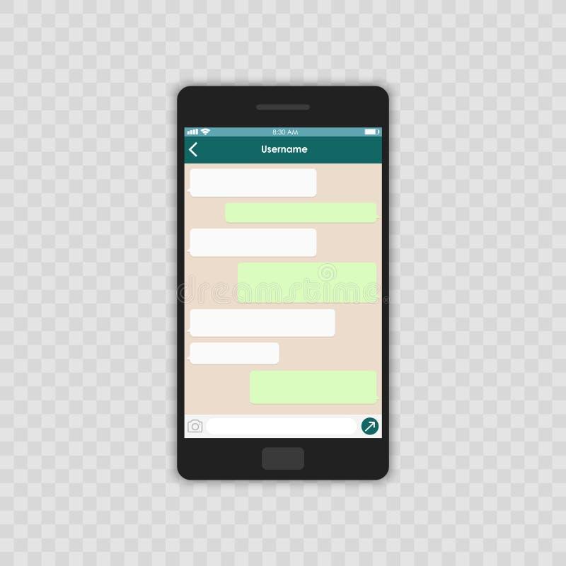 Concetto sociale della rete Modello in bianco Finestra del messaggero Chating e concetto di messaggio Cellulare del whith del mod illustrazione di stock