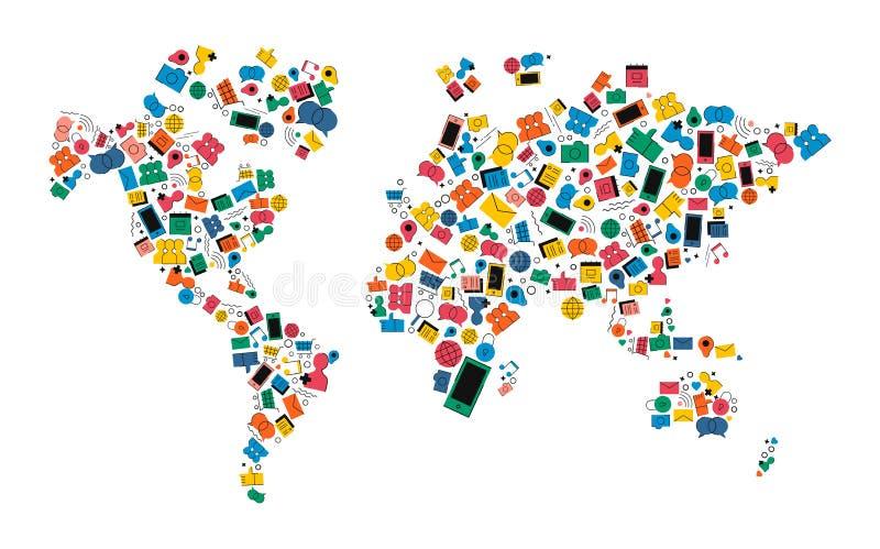 Concetto sociale di forma dell'icona della mappa di mondo della rete di media illustrazione di stock