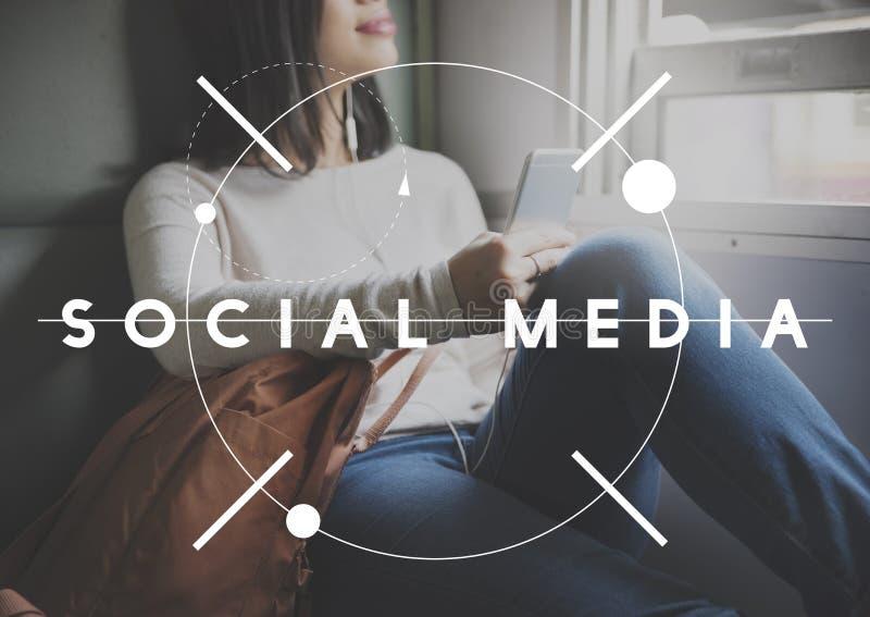 Concetto sociale di Internet di comunicazione di Digital di media fotografia stock libera da diritti