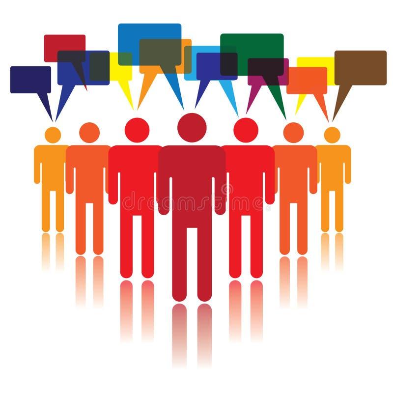 Concetto sociale di media della gente che comunica illustrazione di stock