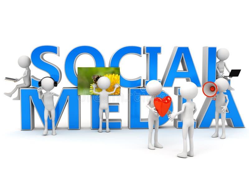 Concetto sociale di media sopra bianco illustrazione di stock