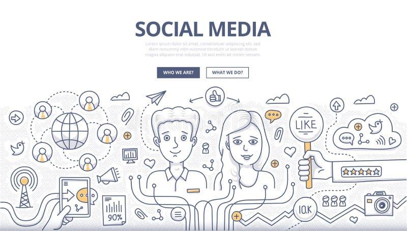 Concetto sociale di scarabocchio di media illustrazione vettoriale