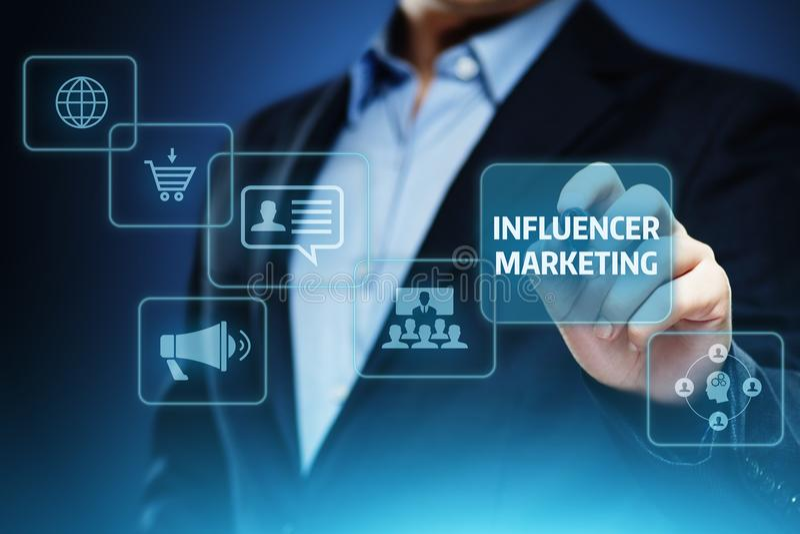 Concetto sociale di strategia di media della rete di affari di piano di vendita di Influencer immagine stock