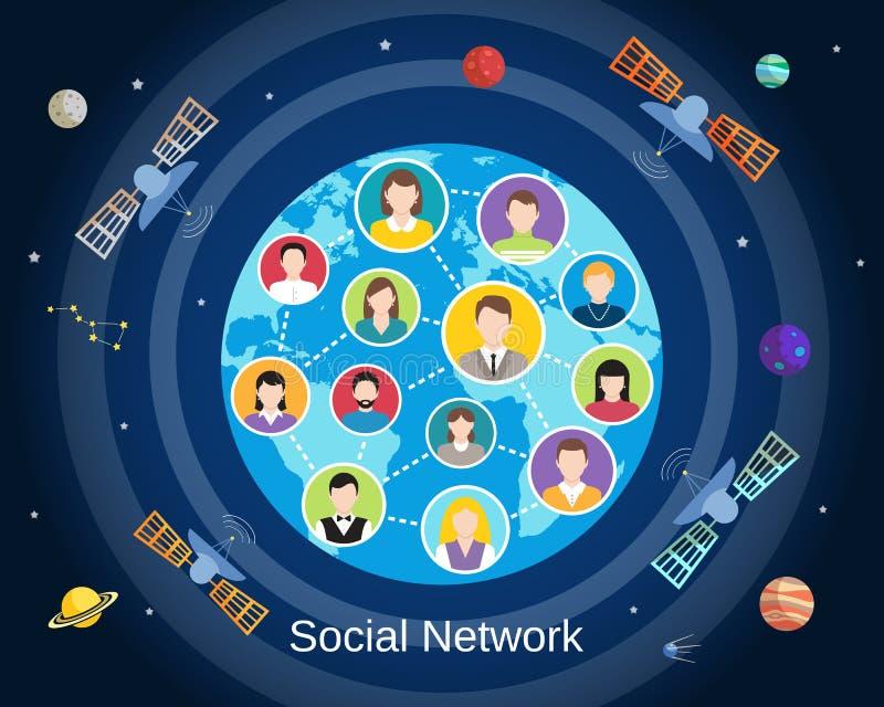 Concetto sociale globale della rete illustrazione di stock