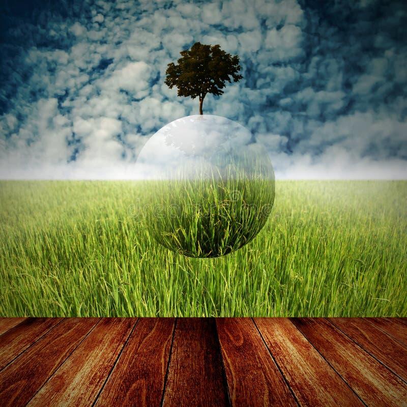 Concetto sostenibile, globo dell'albero che sorvola piattaforma fotografia stock libera da diritti