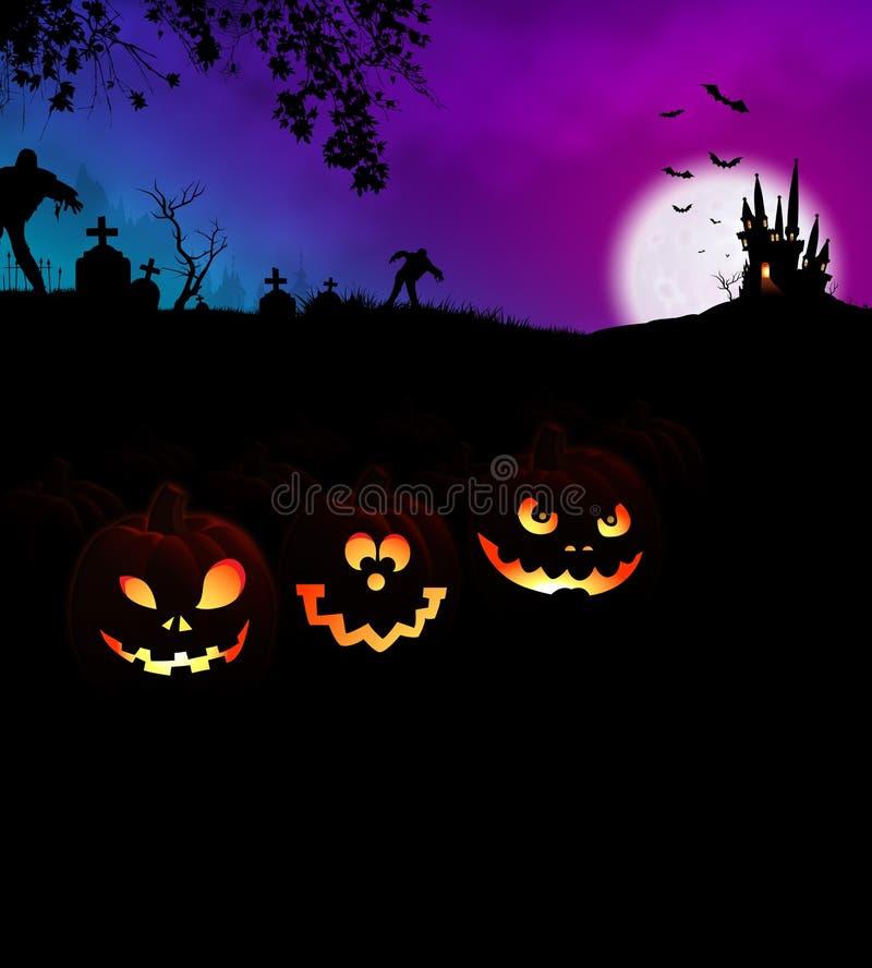 Concetto spaventoso felice del partito di notte di Halloween con le zucche fotografia stock libera da diritti