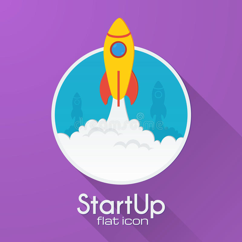 Concetto startup del razzo di vettore nello stile piano illustrazione vettoriale