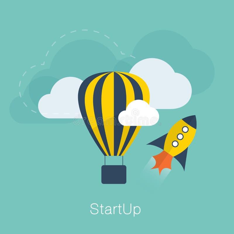 Concetto startup di vettore di nuovo progetto con pianamente fresco  illustrazione di stock