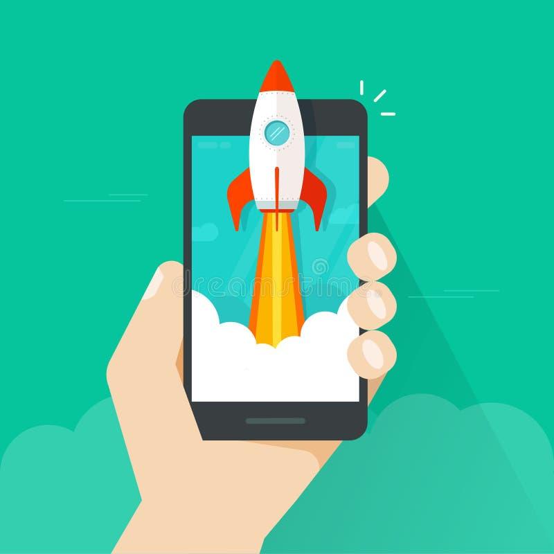 Concetto Startup di vettore, lancio del razzo di stile piano e telefono cellulare o smartphone rapido a disposizione, idea di riu illustrazione vettoriale