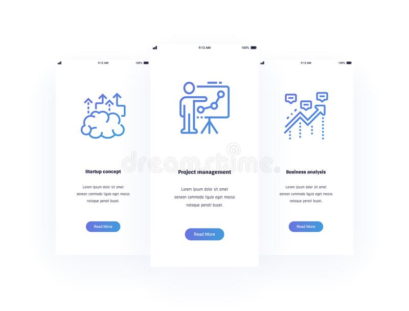 Concetto Startup, gestione di progetti, carte verticali di analisi commerciale con le forti metafore illustrazione vettoriale