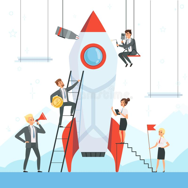 Concetto Startup I caratteri di affari lanciano il vettore di sogno della nave di nuova del progetto della navetta del razzo di s illustrazione vettoriale