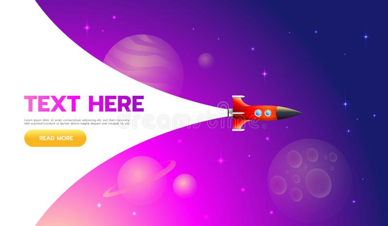 Concetto Startup Icona del lancio di Rocket - può essere usato per illustrare gli argomenti cosmici o una partenza di affari, lan illustrazione vettoriale