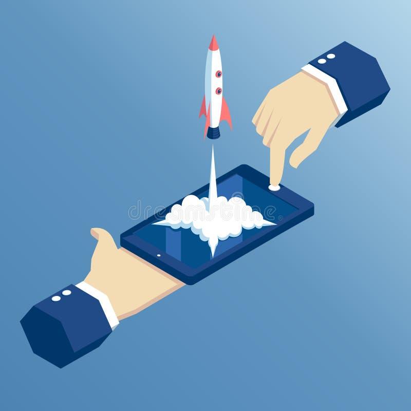 Concetto startup isometrico illustrazione vettoriale