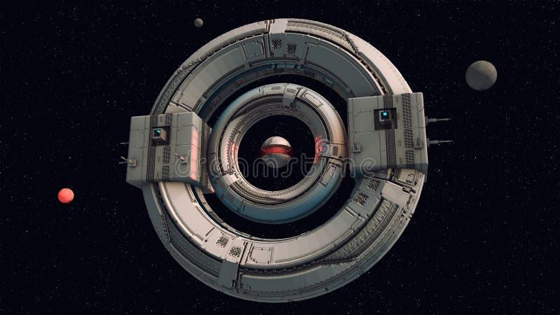 Concetto straniero del UFO dell'astronave fotografia stock
