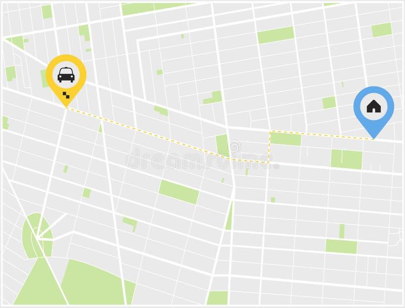 Concetto su un taxi di tema Programma di strada con il taxi e la casa dell'icona Illustrazione piana ENV 10 illustrazione di stock