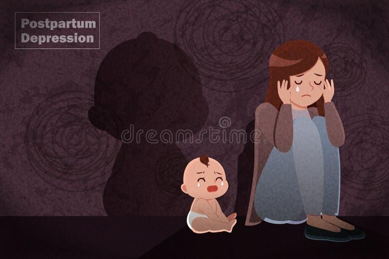 Concetto successivo al parto di depressione illustrazione vettoriale