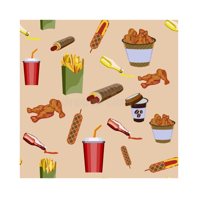 Concetto sull'alimento della via, hot dog Modello con pasto rapido illustrazione vettoriale