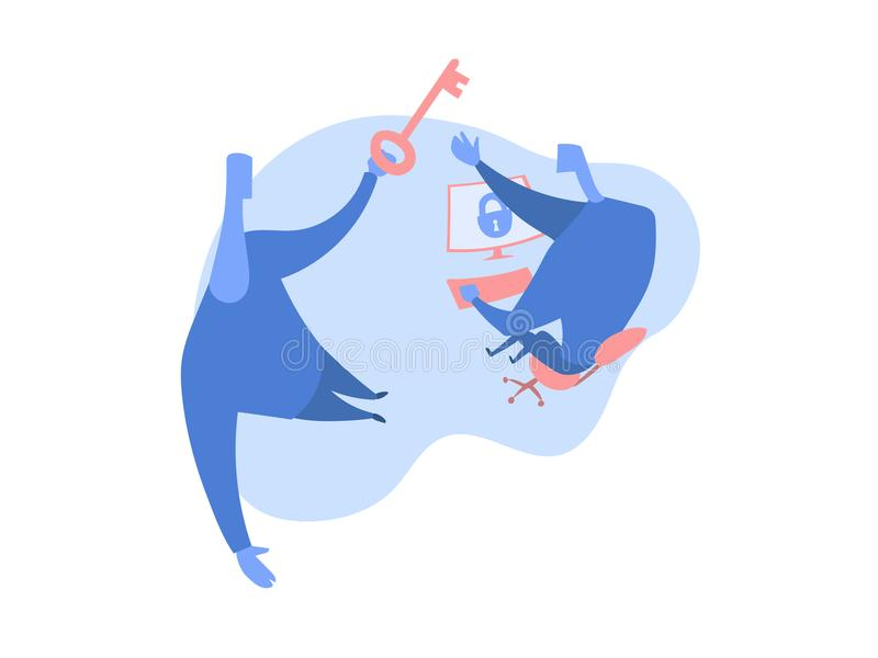 Concetto sull'argomento del cybersecurity Una persona fornisce ad un altro una chiave per accedere al computer Illustrazione di v illustrazione vettoriale