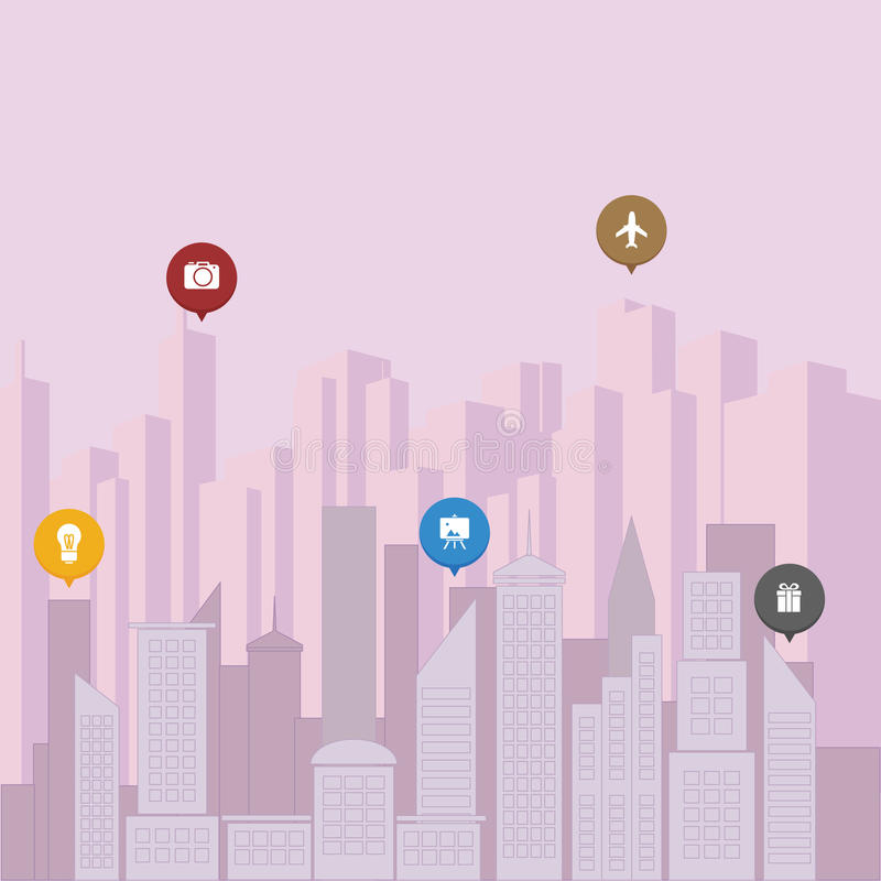 Concetto surreale della città illustrazione vettoriale