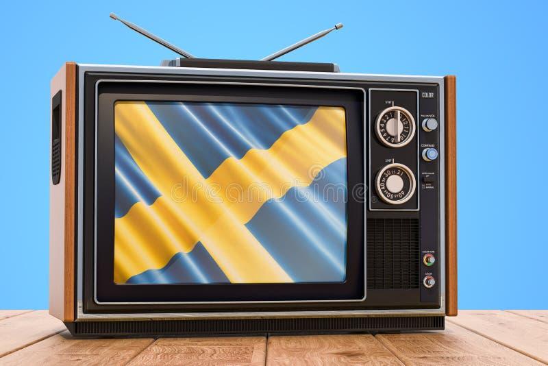 Concetto svedese della televisione, 3D royalty illustrazione gratis