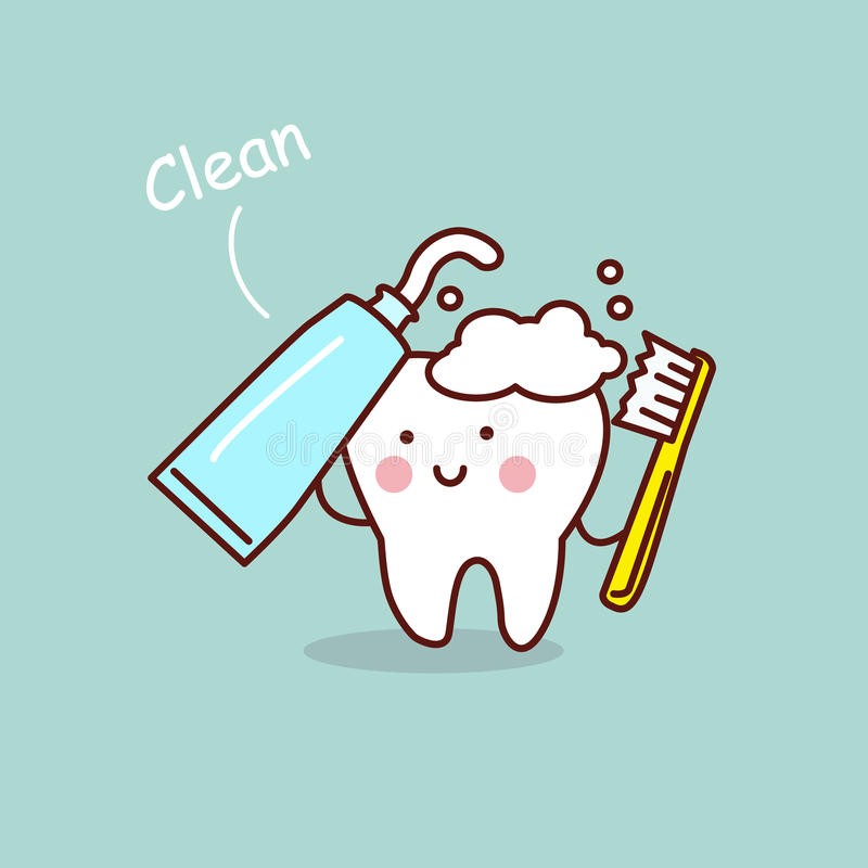 Concetto sveglio dello spazzolino da denti del fumetto illustrazione vettoriale