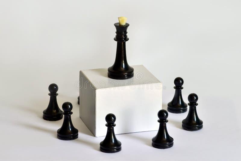 Concetto, team-building, direzione e delegazione di scacchi di autorità, flusso di lavoro fotografia stock