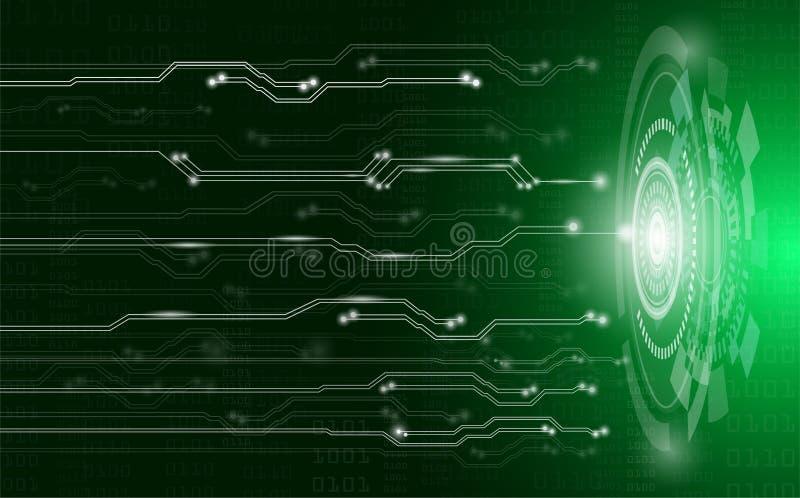 Concetto, tecnologia e scienza astratti del fondo con il circuito elettrico su luce verde illustrazione di stock