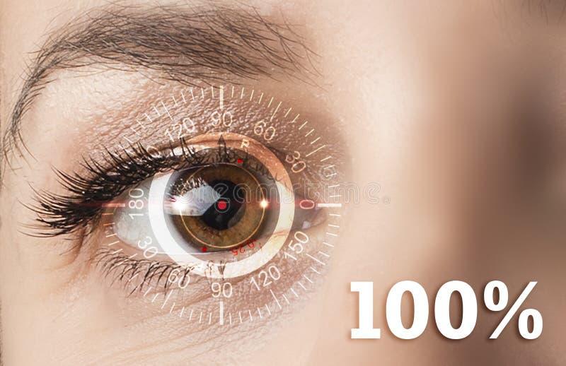 Concetto tecnologico, un recupero di cento per cento di visione Lenti a contatto immagini stock libere da diritti