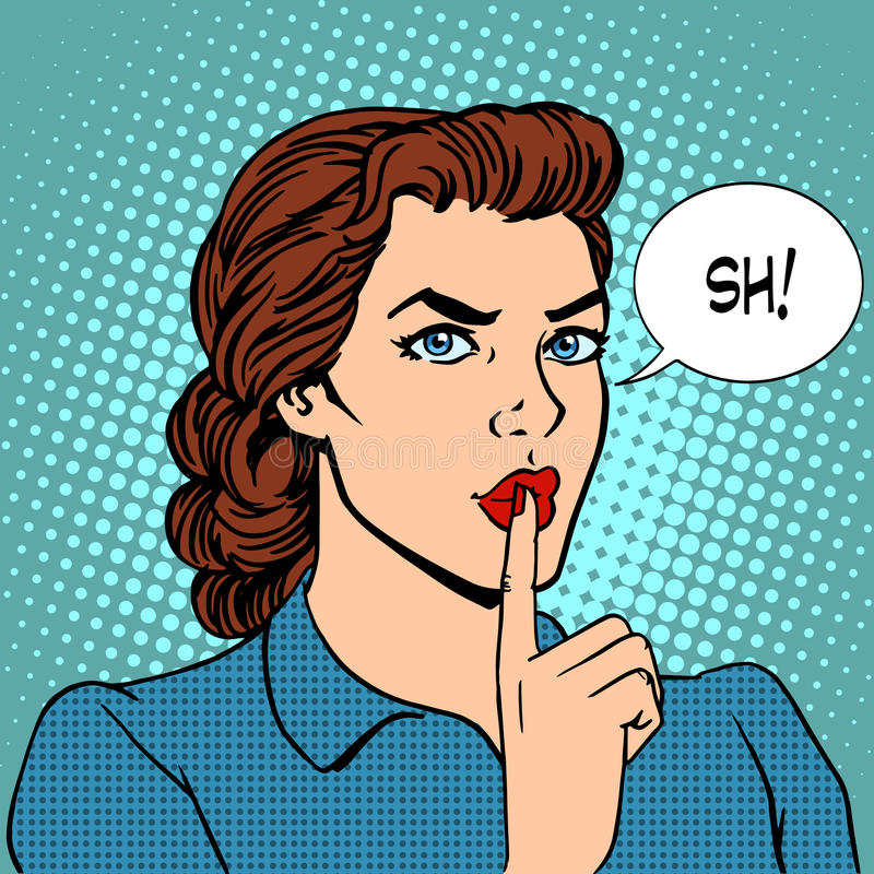 Concetto top-secret della donna di affari di silenzio illustrazione di stock