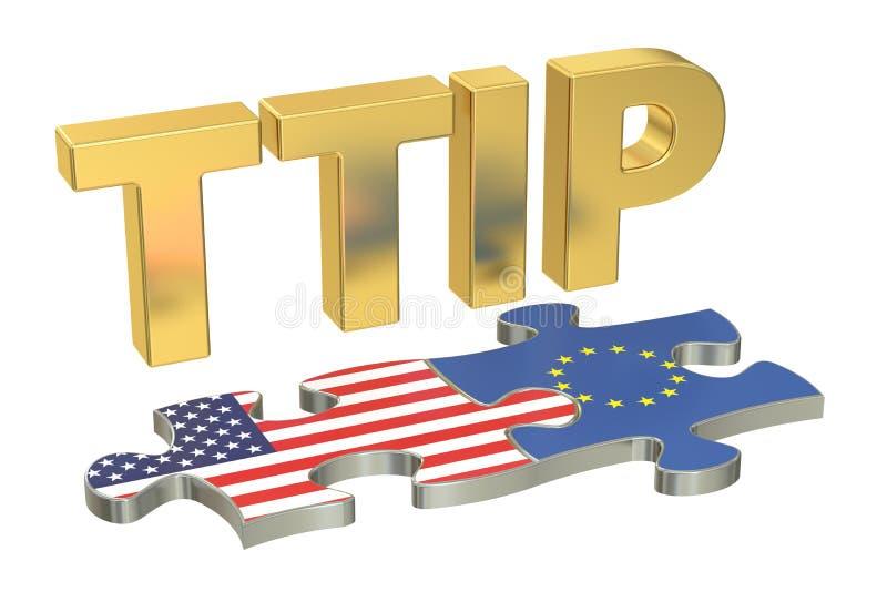 Concetto transatlantico di associazione TTIP di investimento e di commercio, 3D illustrazione di stock