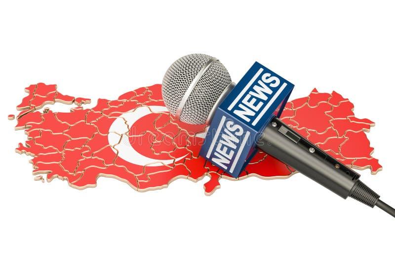 Concetto turco di notizie, notizie del microfono sulla mappa della Turchia 3D r royalty illustrazione gratis
