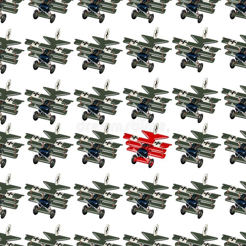 Concetto unico e differente con i retro aerei di combattimento del fumetto illustrazione di stock
