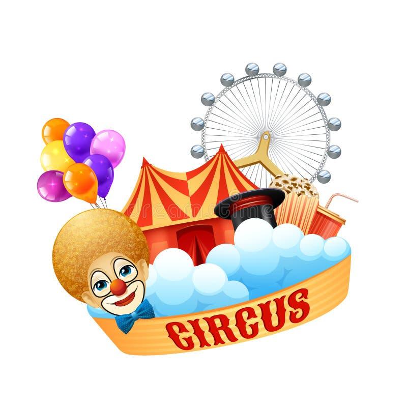 Concetto variopinto del circo illustrazione vettoriale