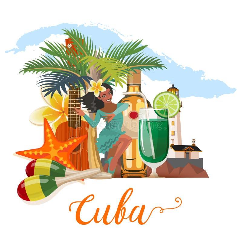 Concetto variopinto dell'insegna di viaggio di Cuba con la mappa cubana ricorso del cubano della spiaggia Benvenuto a Cuba forma  illustrazione vettoriale