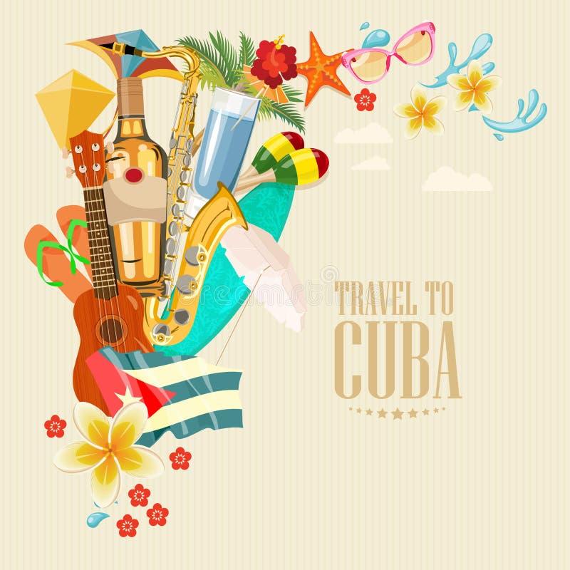 Concetto variopinto della carta di viaggio di Cuba Manifesto di viaggio Illustrazione di vettore con cultura cubana illustrazione di stock