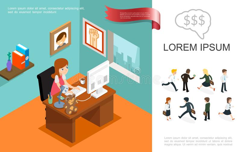Concetto variopinto di affari isometrici royalty illustrazione gratis