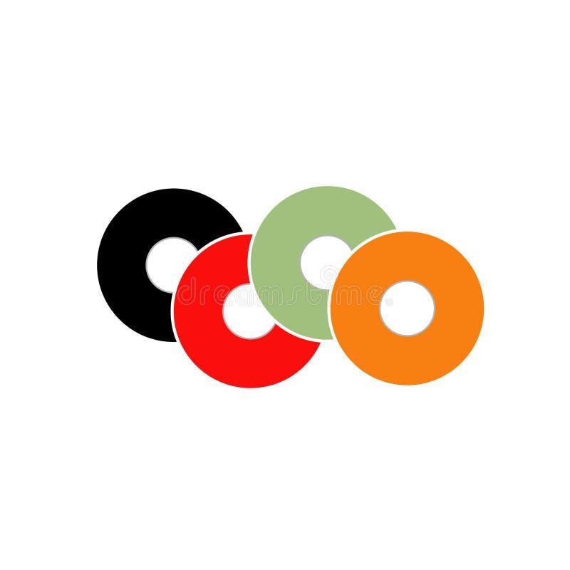 Concetto variopinto di logo del vinile illustrazione di stock