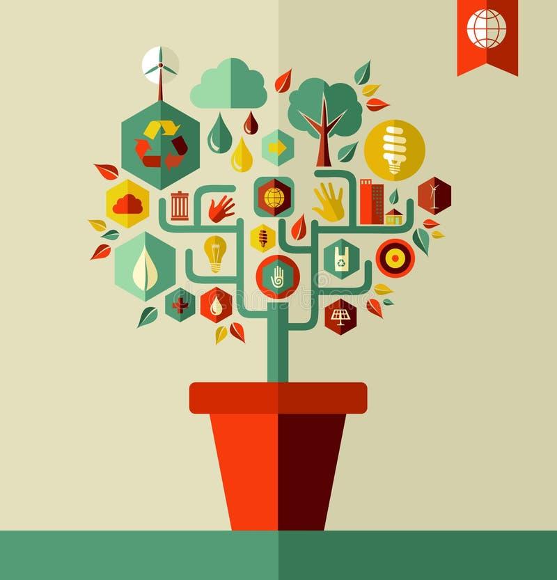 Concetto verde dell'albero dell'ambiente illustrazione di stock