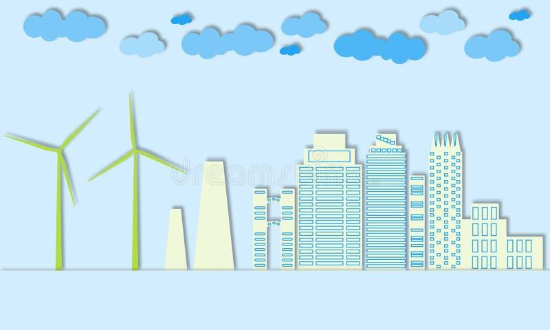 Concetto verde della città Città di Eco Generatori eolici e energia alternativa per grandi città illustrazione vettoriale