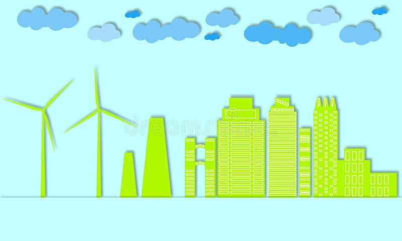 Concetto verde della città Città di Eco Generatori eolici e energia alternativa per grandi città illustrazione di stock