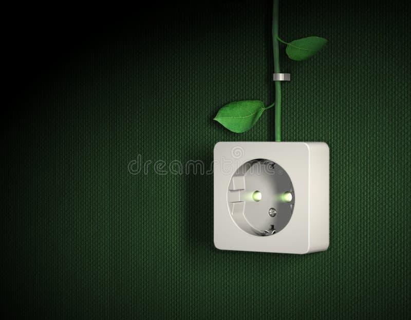 Concetto verde della presa di potenza di energia illustrazione di stock
