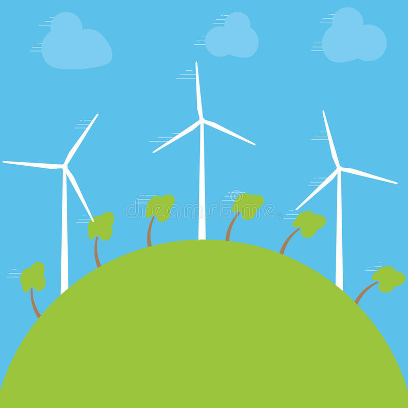 Concetto verde di eco - energia eolica Generatori eolici, illustrazione di vettore Tecnologia energetica alternativa di potere illustrazione di stock