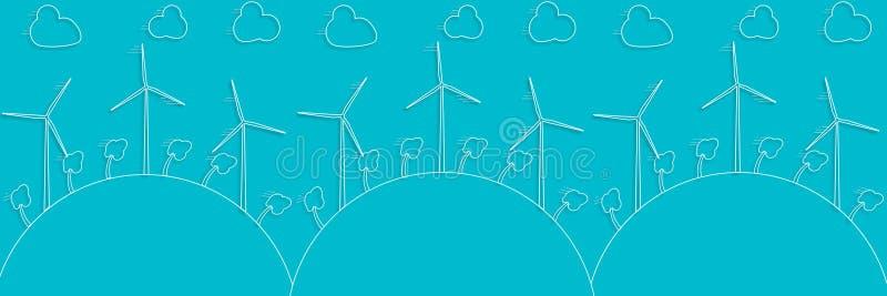 Concetto verde - energia eolica Generatori di venti - stile di vettore 3d illustrazione di stock